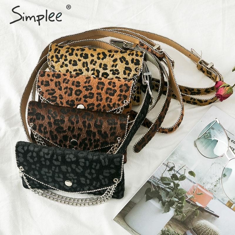 Simplee Leopard Print Fanny Pack Women Chain Waist Cummerbunds Belt Waist Bag Small Phone Pouch Bum Bag Waist Pack Heupt