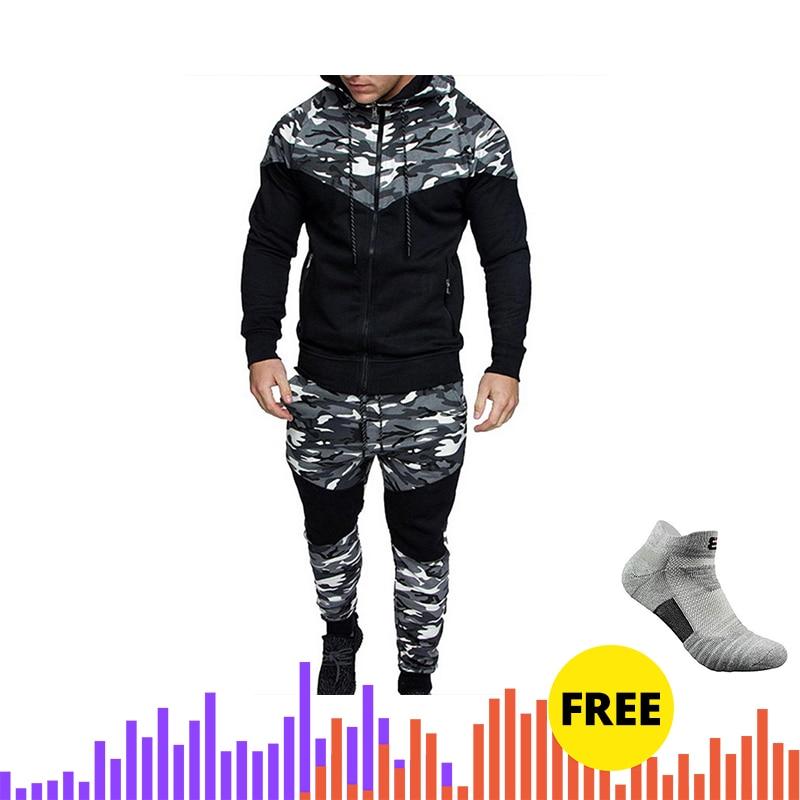 Drop Shipping Adisputent Men Printing Tracksuit   Male Tops + Pants Sets Sports Suit Sportswear Men's Casual Slim Sports Suit