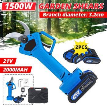 Tijeras de podar eléctricas recargables de 1500W 21V, tijeras de podar, tijeras de podar para jardín, cortador de ramas, herramienta de corte con batería 2x