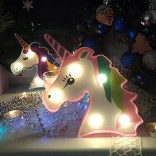 Mini 3D Einhorn Nacht Lampe Led-leuchten Desktop Schlafzimmer Tisch Batterie Lichter für Wohnkultur Einhorn Geburtstag Partei Liefert Licht