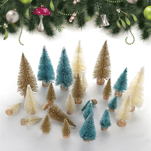 33 Pcs Artificial Frosted Sisal Christmas Tree Decorations Wood Base DIY Crafts Mini Small Pine for Decor S20