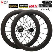 Set di ruote in carbonio 18 pollici 355 Birdy Bike Wheel SEMA DATI Hub V Brake 100/130mm vecchie parti di biciclette Sapim pilastro raggi personalizzati