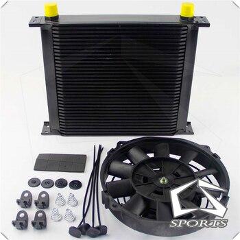 "Universal 34 Row 248mm AN10 British Oil Cooler Kit+7"" Electric Fan Kit Silver/Black"