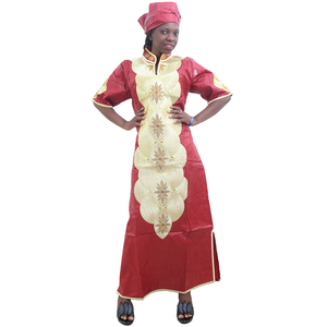 Image 3 - MD Châu Phi Váy Đầm Cho Nữ 2020 Châu Phi Mới Thêu Áo Dài Châu Phi Nữ Dashiki Đầm Đầu Len Nữ Quần Áo