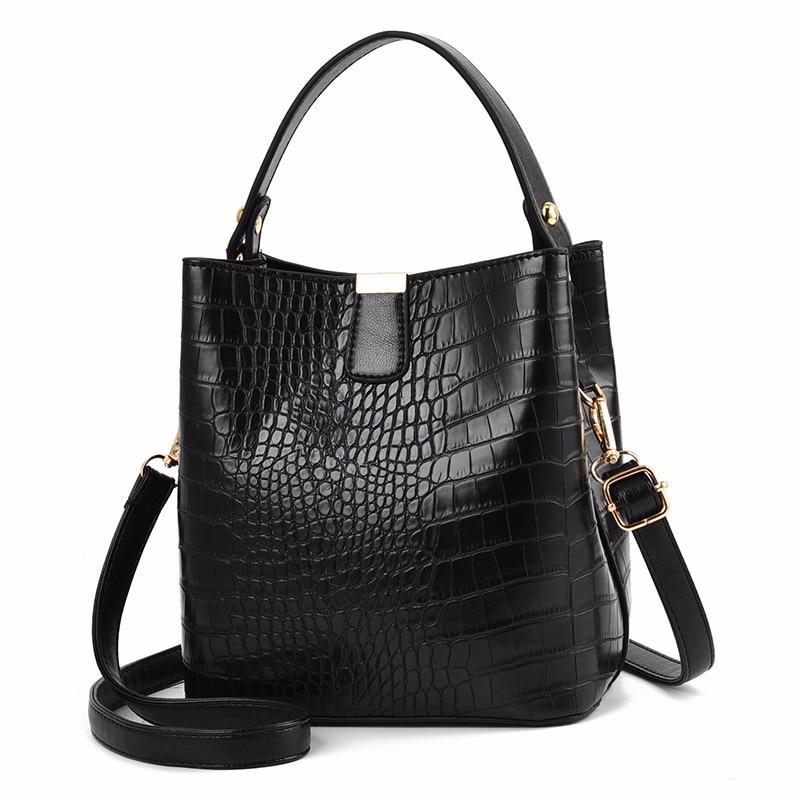 Diysomes Women Shoulder Bag Crocodile Pattern Handbag Ladies Pu Leather Capacity Casual Retro Alligator Bucket Multifunctional