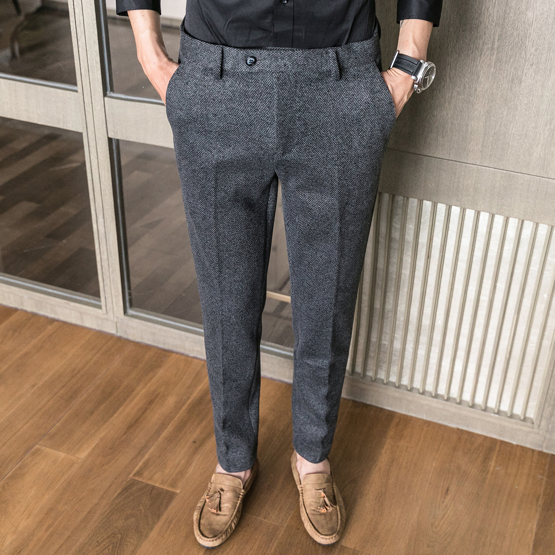 ICPANS Woolen Office Suit Pants Men Slim British Style Wool Business Formal Dress Trousers 2020