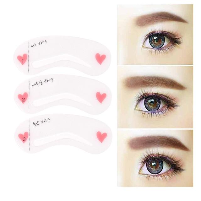 3Pcs Makeup Tools DIY Eyebrow Template Stencil Reusable Grooming Eyebrow Stencil Kit Women Eye Brow Beauty Tools Accessories