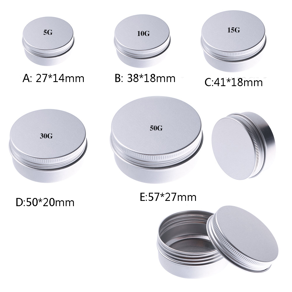 5/10/15/30/50ml Small Tin Box Mini Metal Box Storage Empty Pot Plain Refillable Bottle Container Screw Top Cosmetic Storage Jars