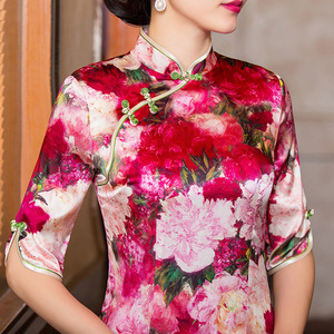 Image 2 - 2019 Vestido De Debutante New Silk Cheongsam Improved Fit Middle Sleeve Wedding Toast Vintage Grade Summer Fashion Wholesale