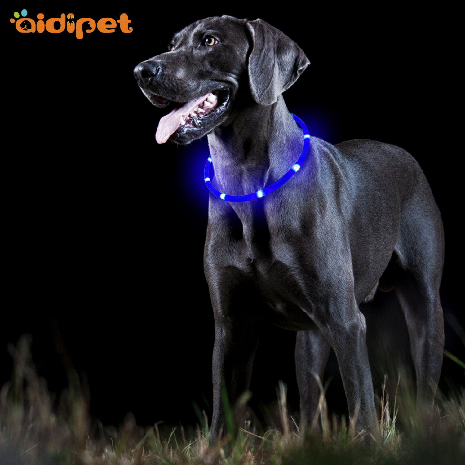 Hot Selling Waterproof Dog Neck Ring LED Pet Shining Traction Dog Silica Gel Bandana Neck Ring With USB Charging Feature