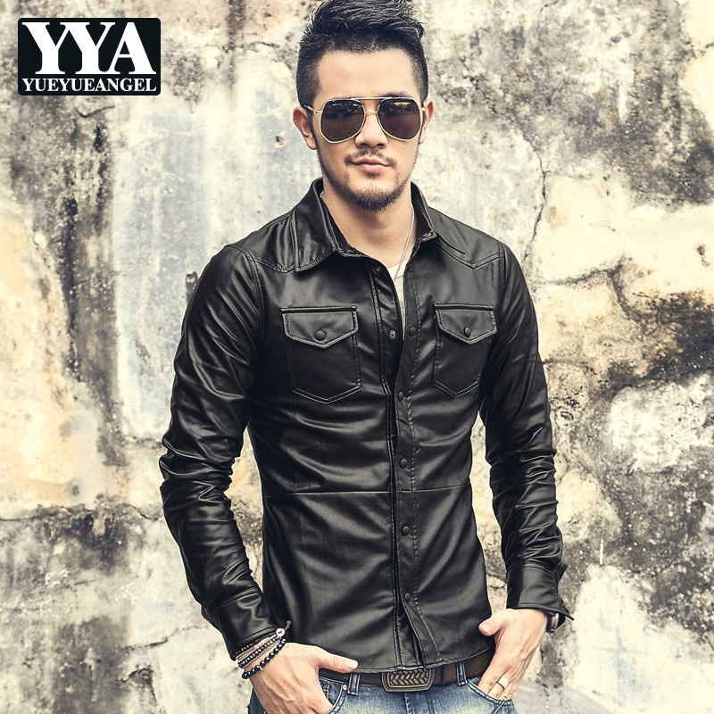 Fashion Mens Slim Fit Faux Leather Shirts Camisas Hombre Motorcycle Single Breasted Pu Leather Tops Casual Long Sleeve Shirts