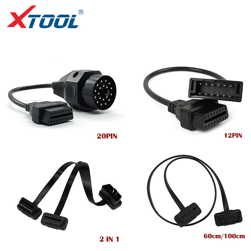 XTOOL Car Diagnostic Cables And Connectors OBD Extension Cables For BMW 20 Pin 60cm/1m 16Pin Male To 16Pin Female For KIA 20 Pin