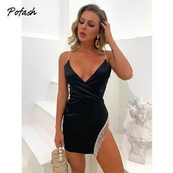 Pofash Black V Neck Mini Dress Women Backless Sexy Backless Diamond Tassel Party Club Dress Spaghetti Strap Bodycon Dresses 2021 1