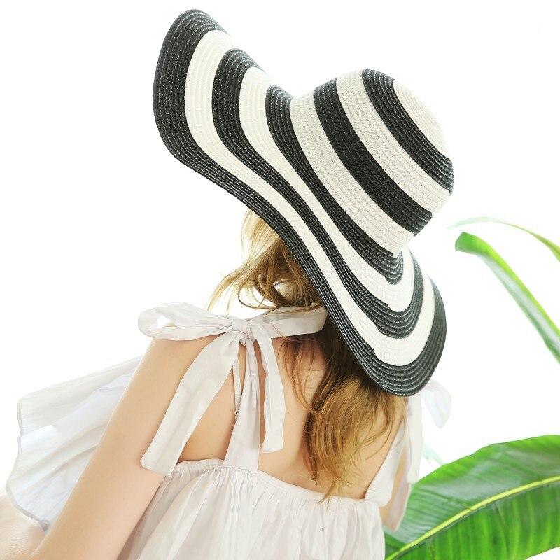 Hat Casual Big Brim Classic Black White Stripe Straw Outdoor Sun Beach Cap Women