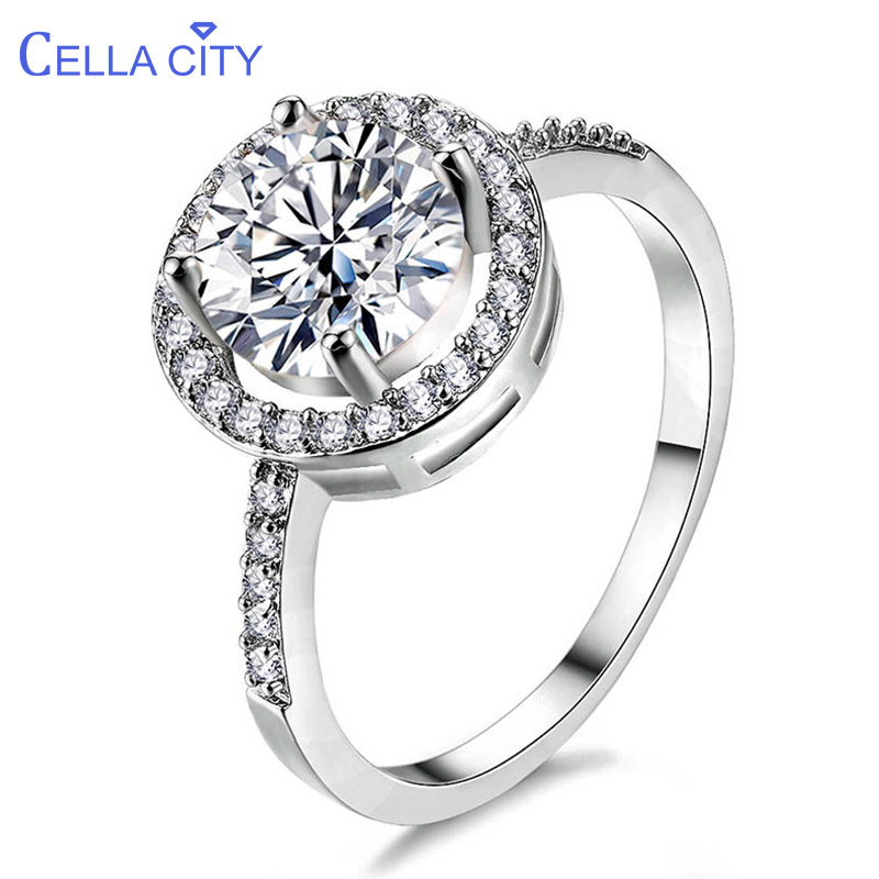 Cellacity Classic Female Wedding Ring Silver 925 Jewelry for Women Round Gemstones Delicate Anniversary Gift Size6-9 Wholesale