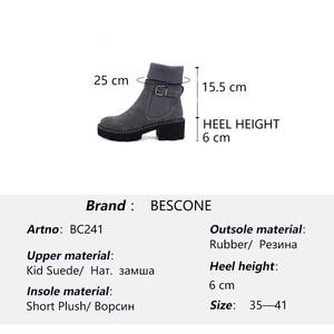 Image 5 - BESCONE แฟชั่นผู้หญิงกลางลูกวัวรองเท้าบูทรองเท้าหัวเข็มขัด Handmade สแควร์ส้นรองเท้าฤดูหนาวใหม่อบอุ่นรอบ Toe สบายสุภาพสตรีรองเท้า BC241