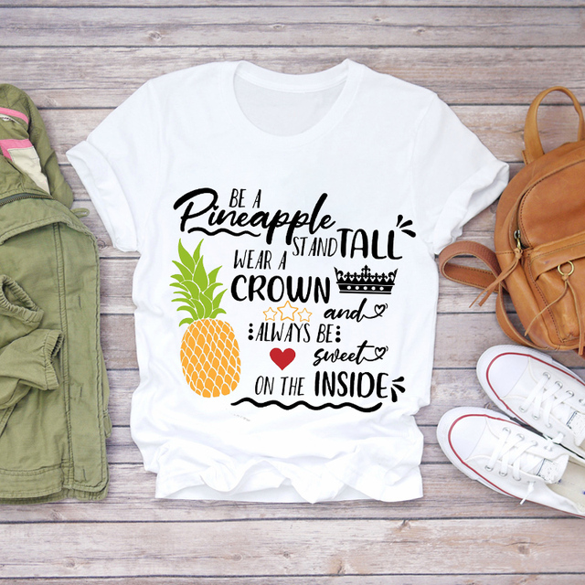 Women 2020 Summer T-shirts Pineapple Watercolor Fruit Cute Lady T-shirts Top T Shirt Ladies Womens Graphic Female Tee T-Shirts 2