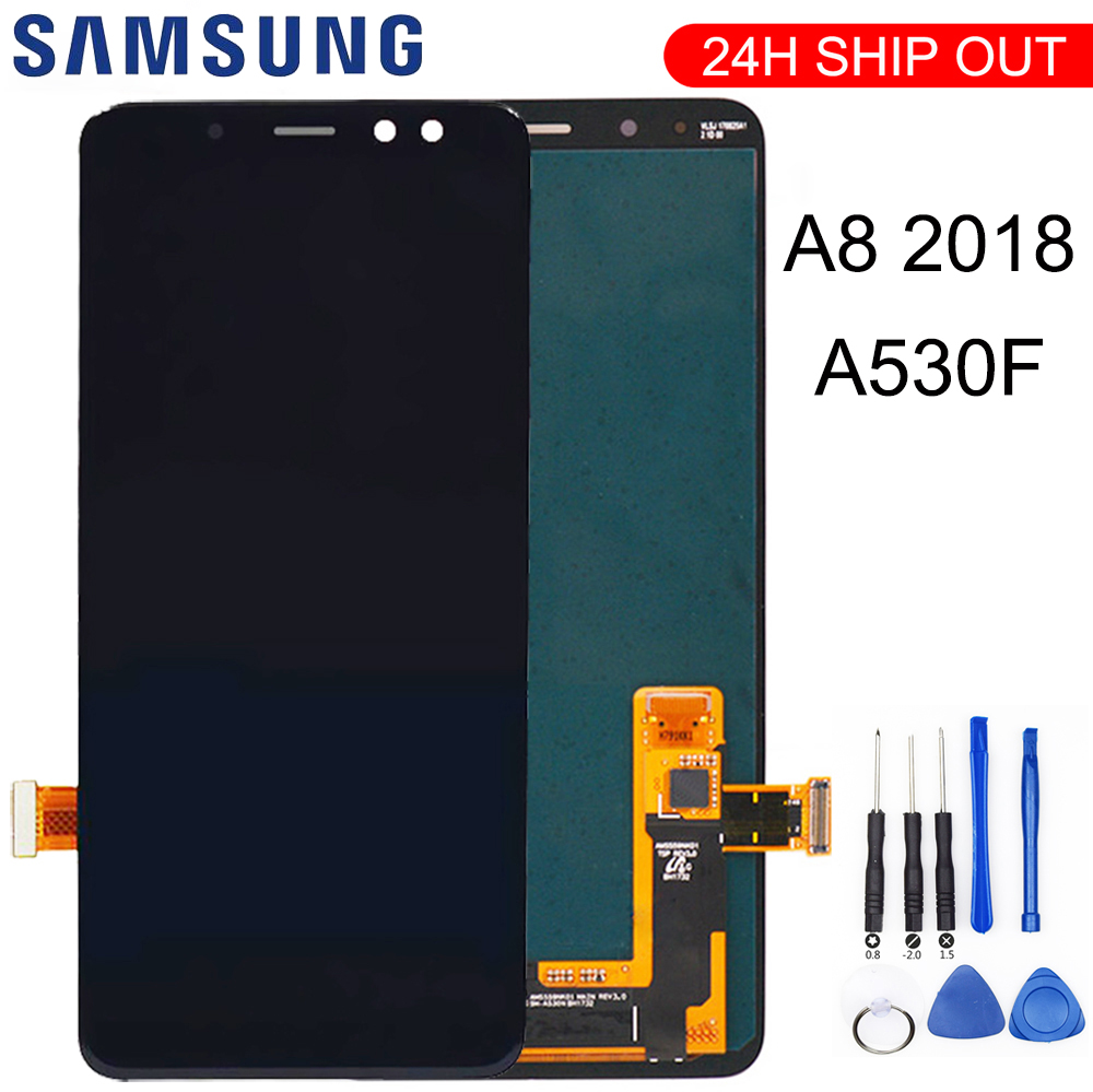 For Samsung Galaxy A8 2018 A530 A530F A530DS A530N SM-A530N Touch Screen Digitizer LCD Display Assembly + Tools