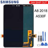 Para samsung galaxy a8 2018 a530 a530f a530ds a530n SM-A530N tela de toque digitador assembléia display lcd + ferramentas