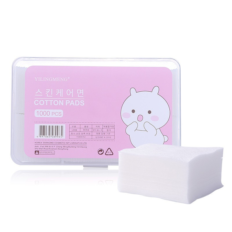 1000pcs/Box 4.6*5.5cm Cosmetics Cotton Pads Cleansing Cotton Portable Tissue Eyes Face Lip Makeup Remover