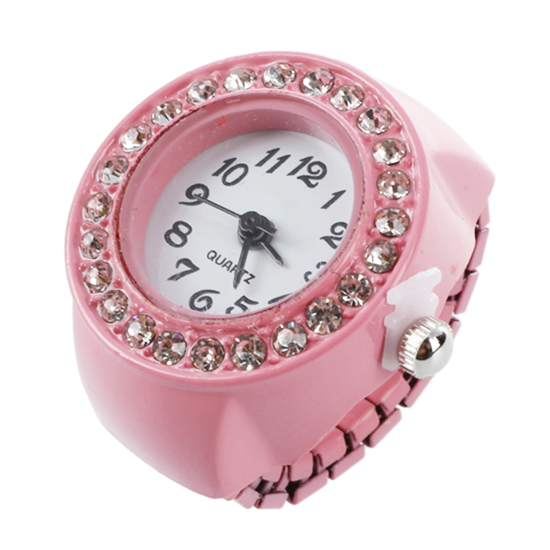 Girl Pink Alloy Quartz Pocket Finger Ring Watch Rhinestone Round Dial