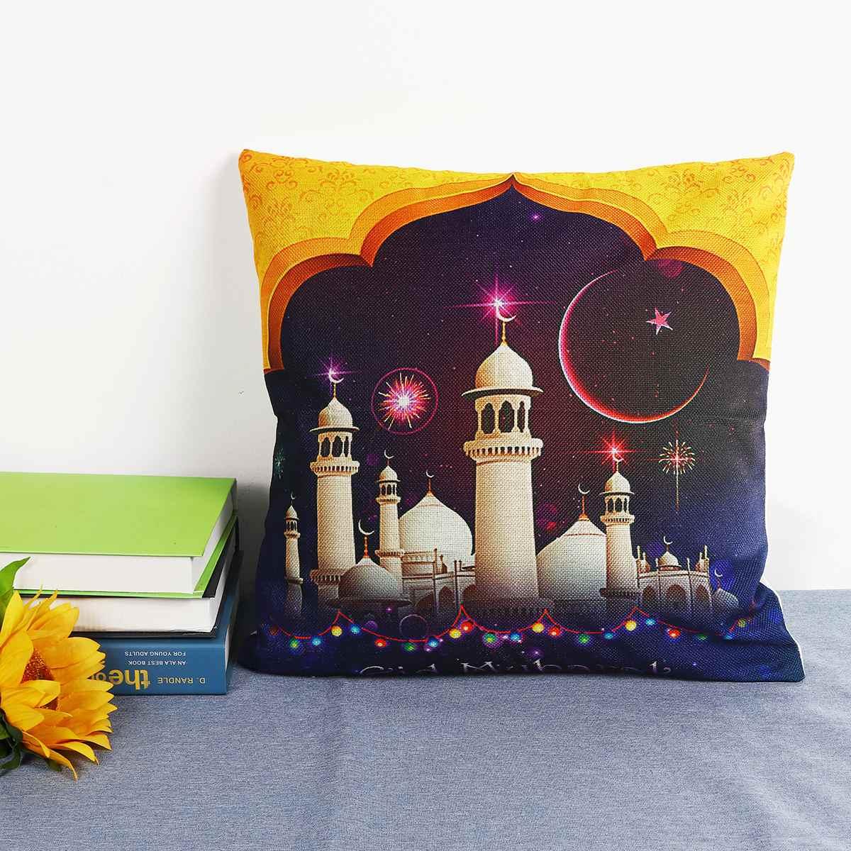 Ramadan Cushion Cover Islam Muslim Masjid Mosque Cushion Covers Eid Ramadan Kareem Moon Art Cushion Cover Decorative Pillow Case