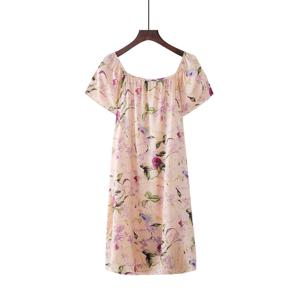 Gratis frakt 100% ren mullbärsblommig siden nattklänning mode nattkläder mjuka nattkläder sommarklänning multicolor gratis storlek