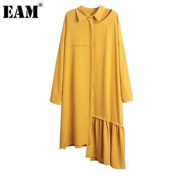 [EAM] Women Spliced Pleated Irregular Oversize Dress New Lapel Neck Long Sleeve Loose Fit Fashion Tide Spring Autumn 2021 1B358 1