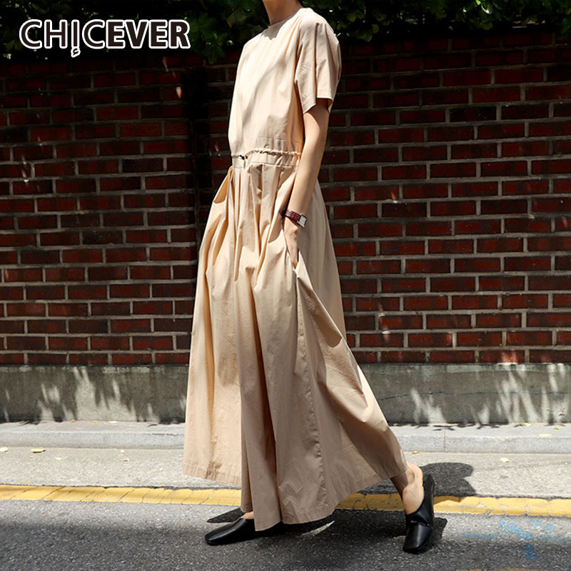 CHICEVER Korean Jumpsuit For Women Short Sleeve High Waist Drawstring Lace Up Plus Size Wide Leg Jumpsuits Female 2020 Clothes