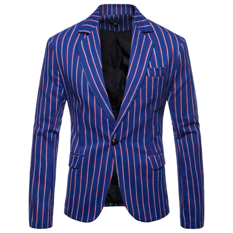 NEGIZBER 2020 New Spring Male Dress Suits Jacket Striped Slim Fit Single Button Blazer Men Fashion Smart Casual Formal Blazers