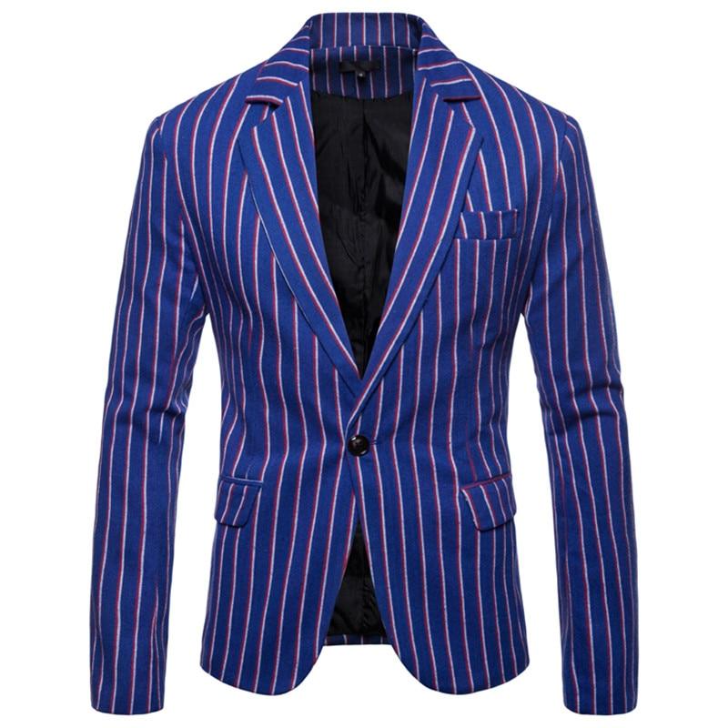 NEGIZBER 2020 New Spring Male Dress Suits Jacket Striped Slim Fit Single Button Blazer Men Fashion Smart Casual Formal Blazers