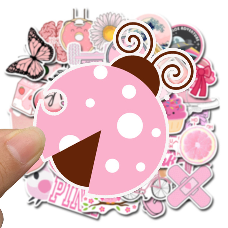 50PCS Cartoon Pink VSCO Stickers For Chidren Toy Waterproof Sticker DIY Suitcase Laptop Bicycle Helmet Car Decals For Girl F4