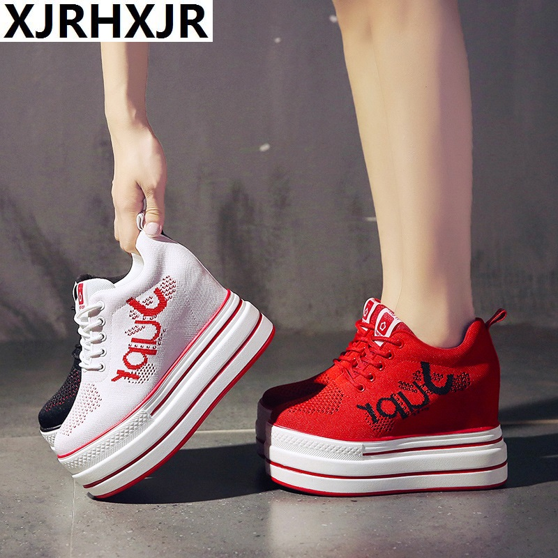 2019 Summer Women Sneakers Mesh Casual Platform Trainers White Shoes 10CM Heels Wedges Breathable Woman Height Increasing Shoes