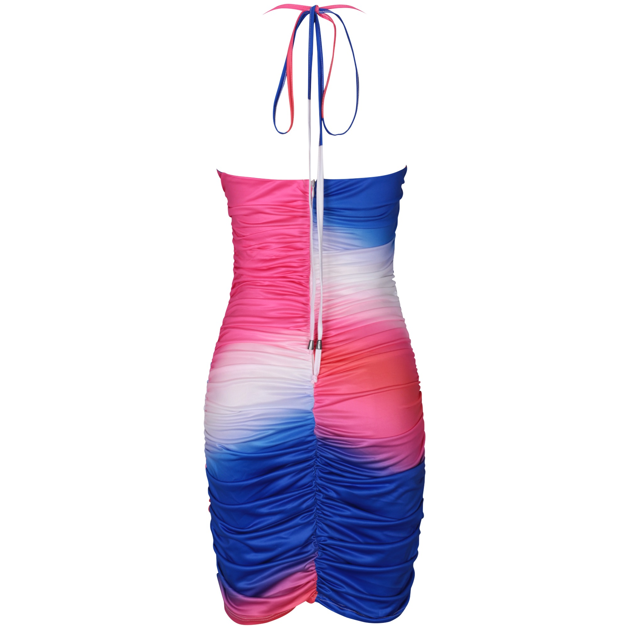 XAKALAKA Multicolours Dresses For Women 2020 Sexy Halter Ruched Mini Bodycon Dress Hollow Out Celebrity Club Party Dress Evening 4