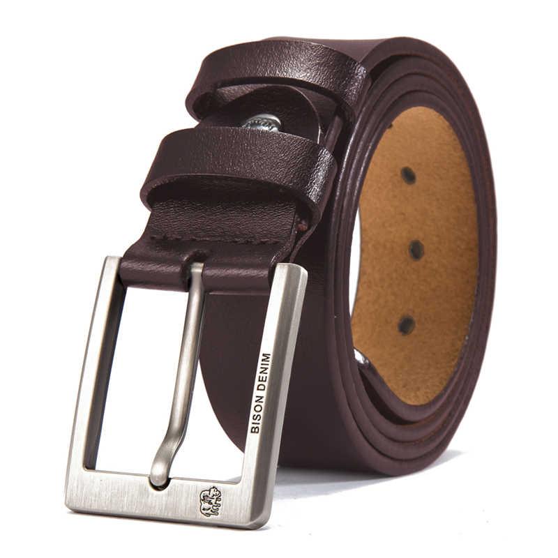 Bison Denim Koeienhuid Riem Mannen Accessoires Cowboy Echt Lederen Riemen Voor Mannen Vintage Pin Gesp Heren Riemen Gift Voor Man n71015