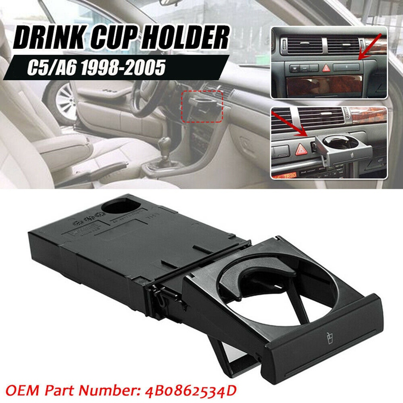 Car Front Dashboard Cup/ Drink Holder Stretch Folding Cup Holder Stand for- A6 C5 1998-2005 A4 1998-2002 4B0862534D