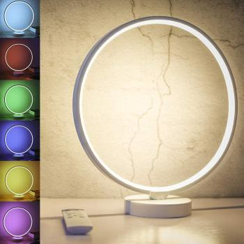 SUNY Circle Mood Lamp Bedside Lamp LED Nightstand Lamp with 4 Brightness Levels 6 Colorful Lighting Effect Modes Remote Control