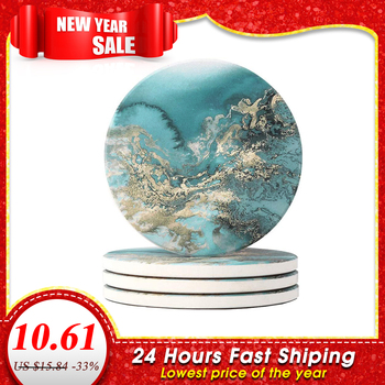4pcs Round Drink Coasters Absorbent Heat Placemat Stone Coaster Set with Cork Base Ceramic Coffee Tea Cup for Mugs Cups