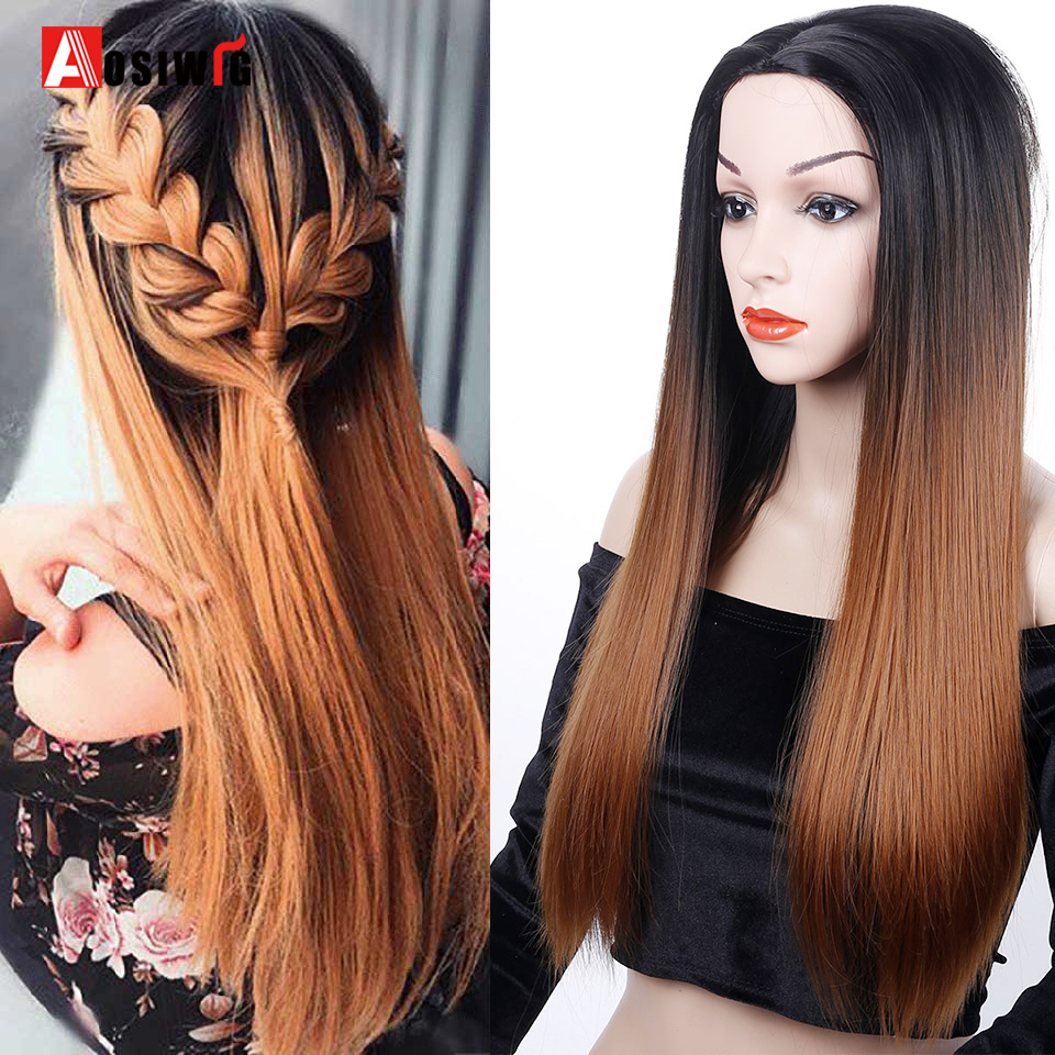 AOSIWIG Ombre Brown Straight Long Synthetic Wigs For Women Black Pink Blue Purple Wigs 24 Inch Cosplay Wigs  6 Colors