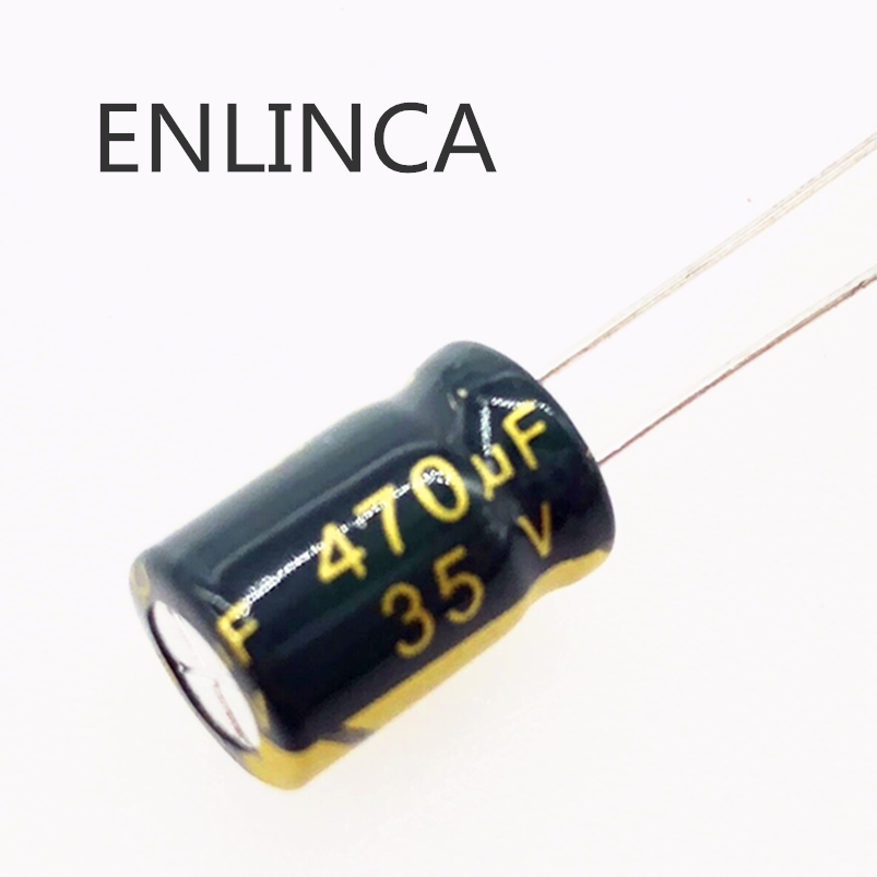 100pcs/lot P82 Low ESR/Impedance high frequency <font><b>35v</b></font> <font><b>470UF</b></font> aluminum electrolytic <font><b>capacitor</b></font> size 8*12mm 470UF35V 20% image