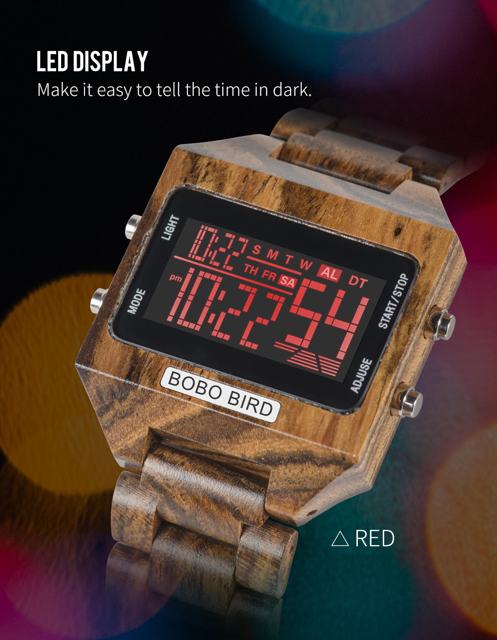 Cores Multi-função Display LED hombre reloj inteligente