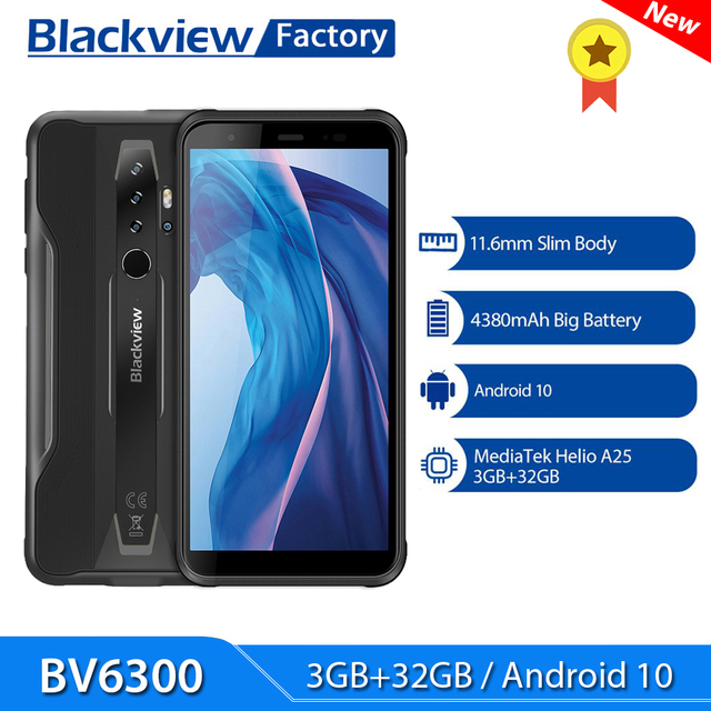 BLACKVIEW BV6300 3GB 32GB Smartphone Android 10 Octa Core 5.7 Inch HD 4380mAh 13MP Quad Camera IP68 Rugged Mobile Phone