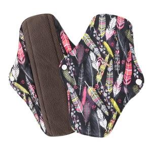 Image 1 - 5Pcs Women Menstrual Pads Reusable Sanitary Napkin Absorbent Reusable Charcoal Bamboo Cloth Pads Washable Sanitary Towel Size M