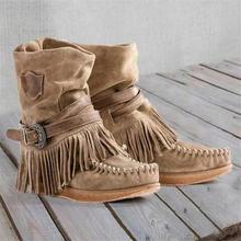 Женская обувь; Зимние ботинки с круглым носком и кисточками;