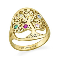 sterling silver 925 custom tree of life with bithstone rose gold rings for women Finger Rings anniversary gifts free shipping