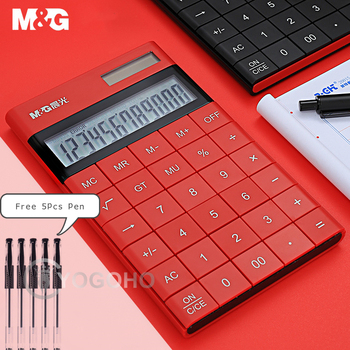 M&G Modern Thin 12-digit Calculator Dual Power Cute Small Solar Calculators 4 Colors Caculator  Scientic Calculater iphone style handheld 10 digit calculator