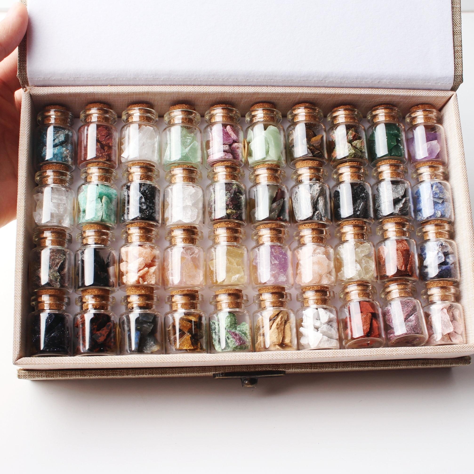 1 Набор/40 шт натуральный кристалл каменный камень Гравий бутылки желаний необработанные минералы образец мини камень, реики исцеление подарок с коробкой