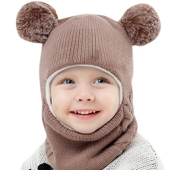 Kids Winter Hats Ears Girls Boys Children Warm Caps Scarf Set Baby Bonnet Scarves Enfant Knitted Cute Hat for Girl Boy Beanies 1pc new spring warm cotton baby hat girl boy toddler infant kids caps candy color cute baby beanies accessories