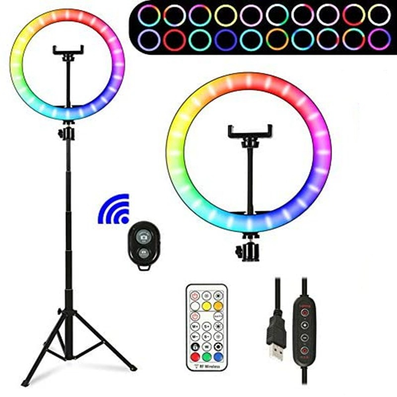 """10"""" RGB Selfie LED Ring Light 26 Colors Mode With 1.6m Tripod Stand Phone Holder For Live Stream/MakeUp/YouTube/TikTok Ringlight 1"""
