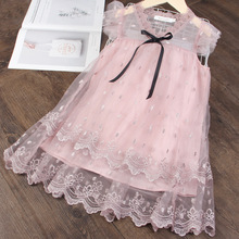 Girls Dress Summer Embroidered Mesh Elegent Princess Dress Kids Dresses For Girls Birthday Party Ball Gown Children Clothing girls floral flowers appliques ball gown dress children cute mesh net yarn birthday party princess dress kids dress clothes